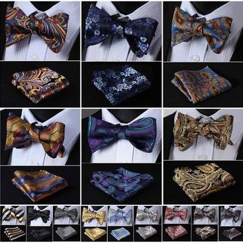 ONETOW Plaid Floral Paisley Striped Silk Jacquard Woven Men Bow Tie and Pocket Square Handkerchief