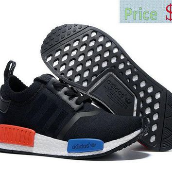 casual shoes ventilated WMNS Adidas original NMD Runner 2016 Black Red Blue White shoe