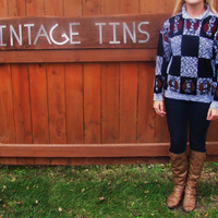 vintage heather black CHESS sweater. vintage hipster chess novelty sweater.