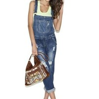 DESTRUCTED ANKLE CUFF DENIM OVERALLS