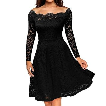 Classical Women Vintage Off Shoulder Lace Formal  Evening Party Dress Long Sleeve Dresses Sexy Women's Dress Party Dresses