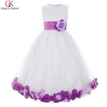 Girls Prom Dresses For Kids Graduation Gowns Cute Children Communion Pageant Dress Purple Blue Red Bow Puffy Flower Girl Dresses