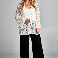 Plus Size Lace Cardigan