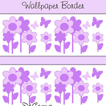 PURPLE FLORAL BUTTERFLY Garden Wallpaper Border Wall Decals Baby Girls Flower Nursery Kids Room Childrens Bedroom Stickers Art Decor