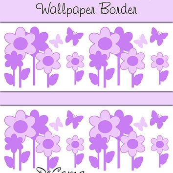 PURPLE FLORAL BUTTERFLY Garden Wallpaper Border Wall Decals Baby Girls  Flower Nursery Kids Room Childrens Bedroom. JUNGLE ANIMALS WALLPAPER Wall Border from Decamp Studios