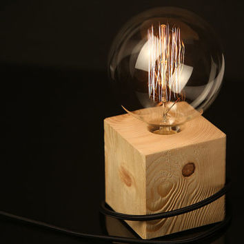 "Wood Lamp ""The Cube"" - Lighting - Wood table lamp with black textile cable and extra large vintage Edison bulb, Wooden Table Lamp"