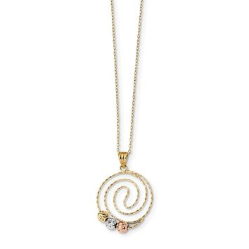 14K Tri Color Gold Tri-color Diamond Cut Beads on Spiral Pendant Necklace 18 Inch