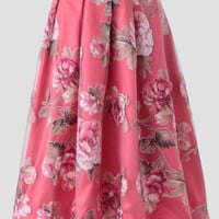 Old Hollywood Floral Midi Skirt