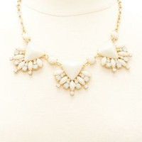 Fanned Faceted Stone Statement Necklace by Charlotte Russe - Gold