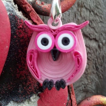 Eco-Friendly Paper Quilled Pendant Owl - Pink, Hot Pink and Black - quilling paper jewelry, paper pendant, owl pendant, gift for her