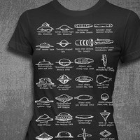 UFO-logy Flying Saucer Types Womens T-shirt