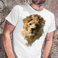 Awesome men t shirt with lion, tshirt with animal print gift for men,white mens t-shirt, Gift man, Christmas gift