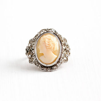 Vintage Art Deco Silver Plated Carved Shell Cameo Ring - 1930s Size 6 1/4 Scrolling Cannetille Filigree Stud Classic Statement Jewelry