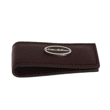 Dolce & Gabbana Bordeaux Leather Magnet Money Clip
