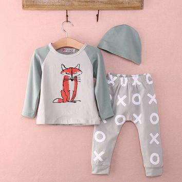 3 Piece Fox T-shirt +Pants+Headband Outfits