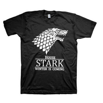 Game of Thrones HOUSE STARK Winter Is Coming Cotton Cosplay Costume Summer Style Short Sleeve Sport t-shirt T Shirt For Men game of thrones