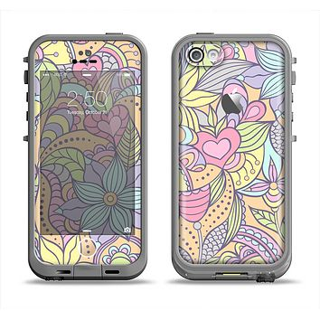 The Subtle Abstract Flower Pattern Apple iPhone 5c LifeProof Fre Case Skin Set