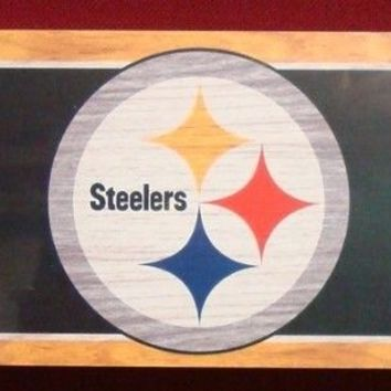 "PITTSBURGH STEELERS GENERAL SEATING WOOD SIGN 6""x36"" NEW WINCRAFT"