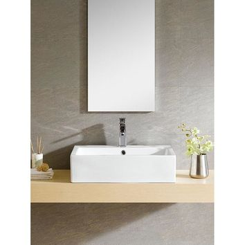 Ceramic Rectangular White Vessel Sink