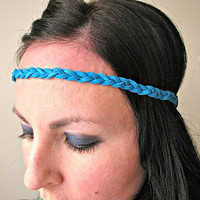 Braided Leather Hipster Headband, turquoise, elastic back, festival headband