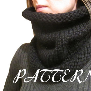 Knit Cowl Pattern - Cowl Knitting Pattern - Lion Brand Wool Ease Thick & Quick - Size 11 8mm Needle - Chunky - Instant Download