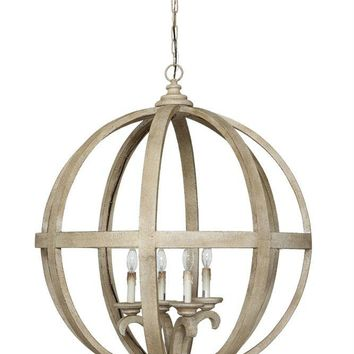 Round Wood & Metal Sphere Chandelier