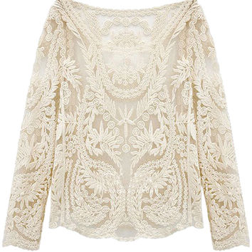 White Crochet Lace Mesh Long Sleeve Blouse