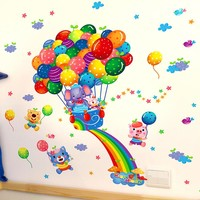 PVC Removable Balloon Animals wall stickers For Baby kids Room Decal Art Vinyl Nursery Mural Decor