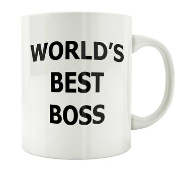 Funny Mug - The Office World's Best Boss Premium Travel mug cup for men, mom, friends, office, gift, White 11oz
