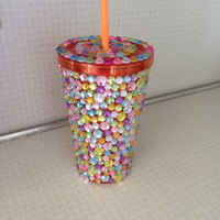 Rhinestone Tumbler Cup, Orange Cup with Rhinestones