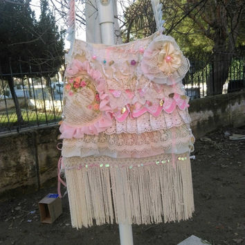 Gypsy Fringe Bag Shabby Chic Bag Boho Bag Ruffle Bag Hippie Bag Romantic Bag Lace Bag  Tie Dye Bag Handmade Bag