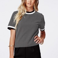 Missguided - Nadia Sports Rib Detail Grid Print Shell Top
