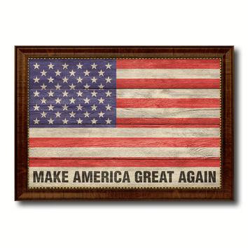 Make America Great Again USA Flag Texture Canvas Print with Brown Picture Frame Home Decor Wall Art Gifts
