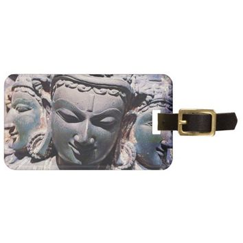 Asian stone face carving head photo luggage tag