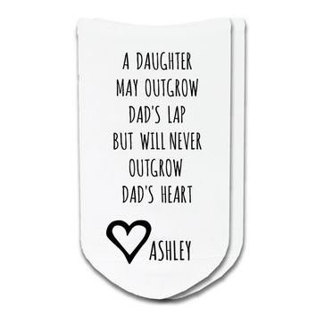 Never Outgrow Dad's Heart - Personalized with Children's Names - Men's No Show Socks
