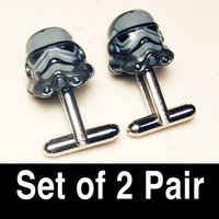 Groomsmen Gifts, Wedding, Gray/Silver Storm Trooper on silver toned cufflinks in gift box, Set of 2 Pair