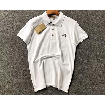 Burberry 2018 Embroidered Men's Lapel Short Sleeve T-Shirt F-CY-MN White