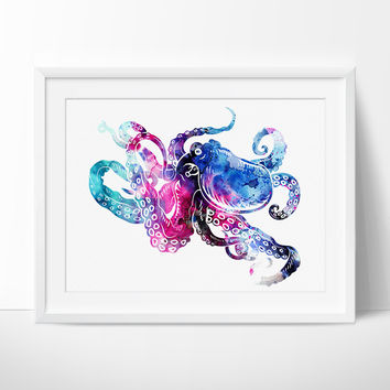 Octopus Art, Octopus Wall Art, Octopus Print, Octopus Painting, Watercolor Art, Wall Art Decor (86)