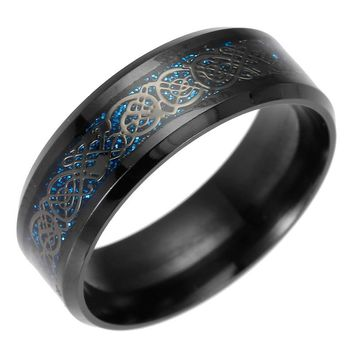 ADOMANER New 8mm Silver Color Blue Carbon fiber Dragon 316L Stainless Steel Rings For Men Women China Jewelry Free Shipping