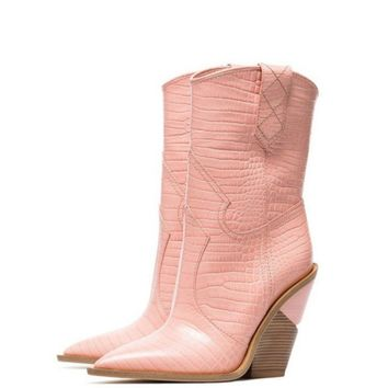 Embossed Leather Cowboy Boots Chunky Wedges Boots