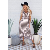 Girl On The Move Dress (Rust/White Stripe)