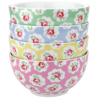 Kitchen | Provence Rose Set of 4 Cereal Bowls | CathKidston