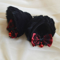 Kitten play clip on cat ears with ribbon bows - neko lolita cosplay costume - kitten play gear accessories - black and dark red with bells