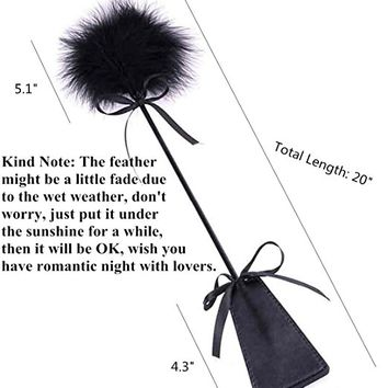 Vivilover Love Flirting Whip with Feather and Leather Slapper