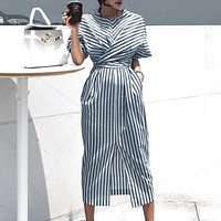 Office ladies cotton striped dress style bandage split female dress Short sleeve plus size long dresses women
