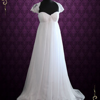 Empire Chiffon Wedding Dress with Cap Sleeves and Keyhole Back | Ellie