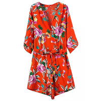 Red Floral Print Belted Rompers