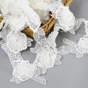 David accessories Flower Lace Trim pearl Embroidery Sewing Fabric Ribbon DIY Garment Accessories,DIY handmade materials,1Y50002