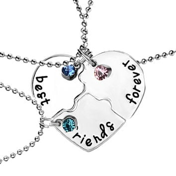 "3 Pcs set ""best friends forever"" Rhinestone Broken Heart Shape Bff Necklace Best friend Jewelry Friendship Gifts free shipping"