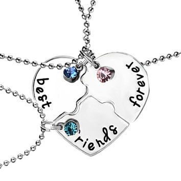 "3 Pcs/set ""best friends forever"" Rhinestone Broken Heart Shape Bff Necklace Best friend Jewelry -Best Christmas Gift"